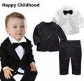 2017 de La Moda de Primavera Gentleman Baby Boy Ropa para los recién nacidos 3 unids ropa de bebé niño establece para la boda traje + camisa con bowtie + pantalones