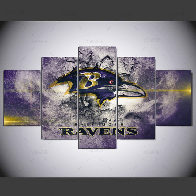 5 Panel Wall Pictures For Living Room Baltimore Ravens Sports Logo Home Cuadros Decor Modular Painting Art
