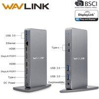 Wavlink Док станция ноутбук Универсальный USB C HDMI HD несколько Дисплей ультра 5 к вертикальный алюминиевый Gigabit Тип C USB3.0 для MAC