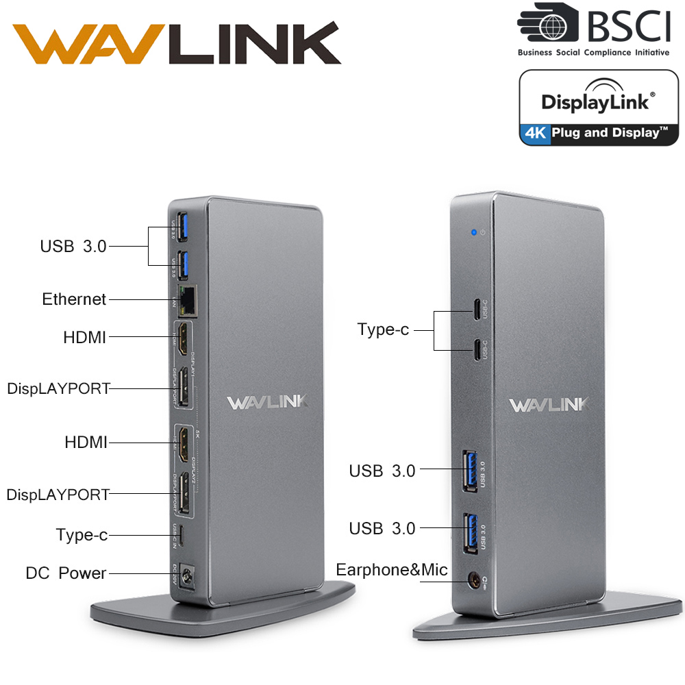 Wavlink Ultra 5K Universal Docking Station USB C HDMI HD Multiple Display Vertical Aluminum Gigabit Type C USB3.0 For MAC NEW US su50 320 s su50 350 s airtac thin three axis cylinder with rod air cylinder pneumatic component air tools
