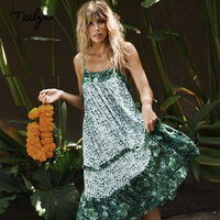 TEELYNN strap summer dresses green floral print sexy sleeveless long Boho dress ruffles beach hippie chic women dresse vestidos