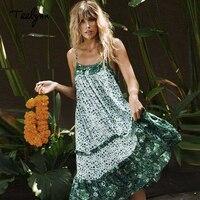 TEELYNN strap summer dresses green floral print sexy sleeveless long Boho dress ruffles beach hippie chic women dresse vestidos