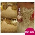 100% Imagem Real Vestidos De Casamento De Cristal 2017 Hand-Beading Longos Vestidos de Noiva Querida Mangas Backless Lace-Up vestido de Noiva vestido