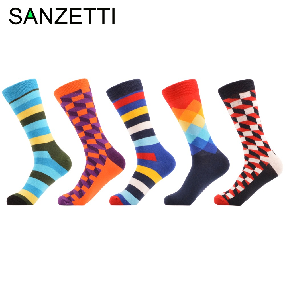 SANZETTI 5 pairs/lot Striped Filled Optic Argyle Funny Bright Colorful Men Socks Combed Cotton Long Socks Wedding Socks