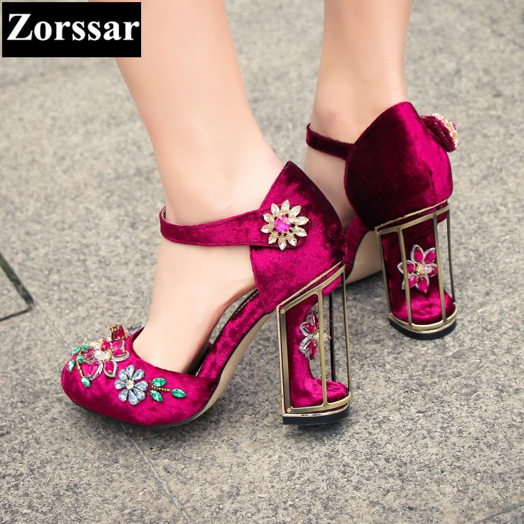 Purple Summer Womens Shoes rhinestone High heels sandals Women Pumps shoes 2017 Fashion Suede leather woman Ankle Strap shoes plus size 2017 new summer suede women shoes pointed toe high heels sandals woman work shoes fashion flowers womens heels pumps