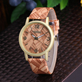 Luxury Brand Waterproof Watch 2016 Fashion Men Women Wooden Leather Watch Ladies Dress Watch Men Casual Wristwatch Relogio Clock