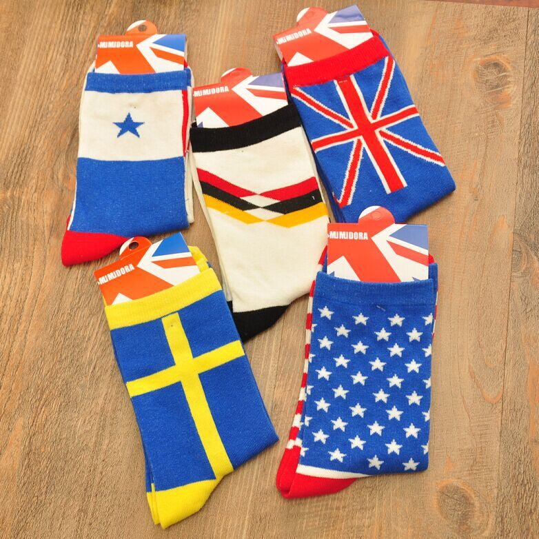 1 Pairs /lot Hot Flag Men's Socks Cotton Mixed Colors Hot Spring Leisure Young Brand Socks Men Calcetines Cotton Casual Sock