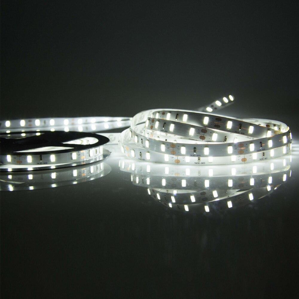 Bande de nouveauté LED Flexible blanche SMD5050 ruban DC12V bande de corde 5 m 300 LED bande adressable lampe Super lumineuse pour fond TV