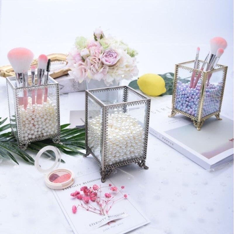 Géométrique verre fleur chambre bijoux boîte de rangement bord cuivre verre cosmétique boîte de rangement porte-crayon de bureau pinceau de maquillage