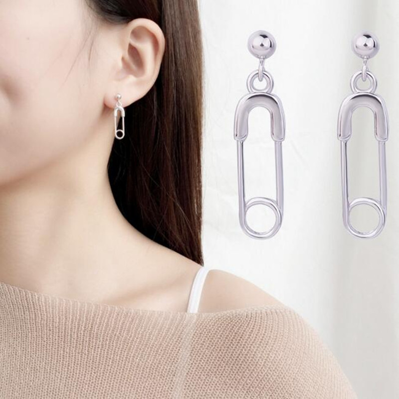 1 pair 2018 New Stainless Steel Safety Pin Geometry Chain bts Earrings Irregular Earrings For Fashion Women/men Jewelry