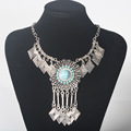 2017 new Fashion Colar choker Vintage Bohemian necklace amp pendant tassel gypsy ethnic big gem maxi Necklace Women fine jewelry