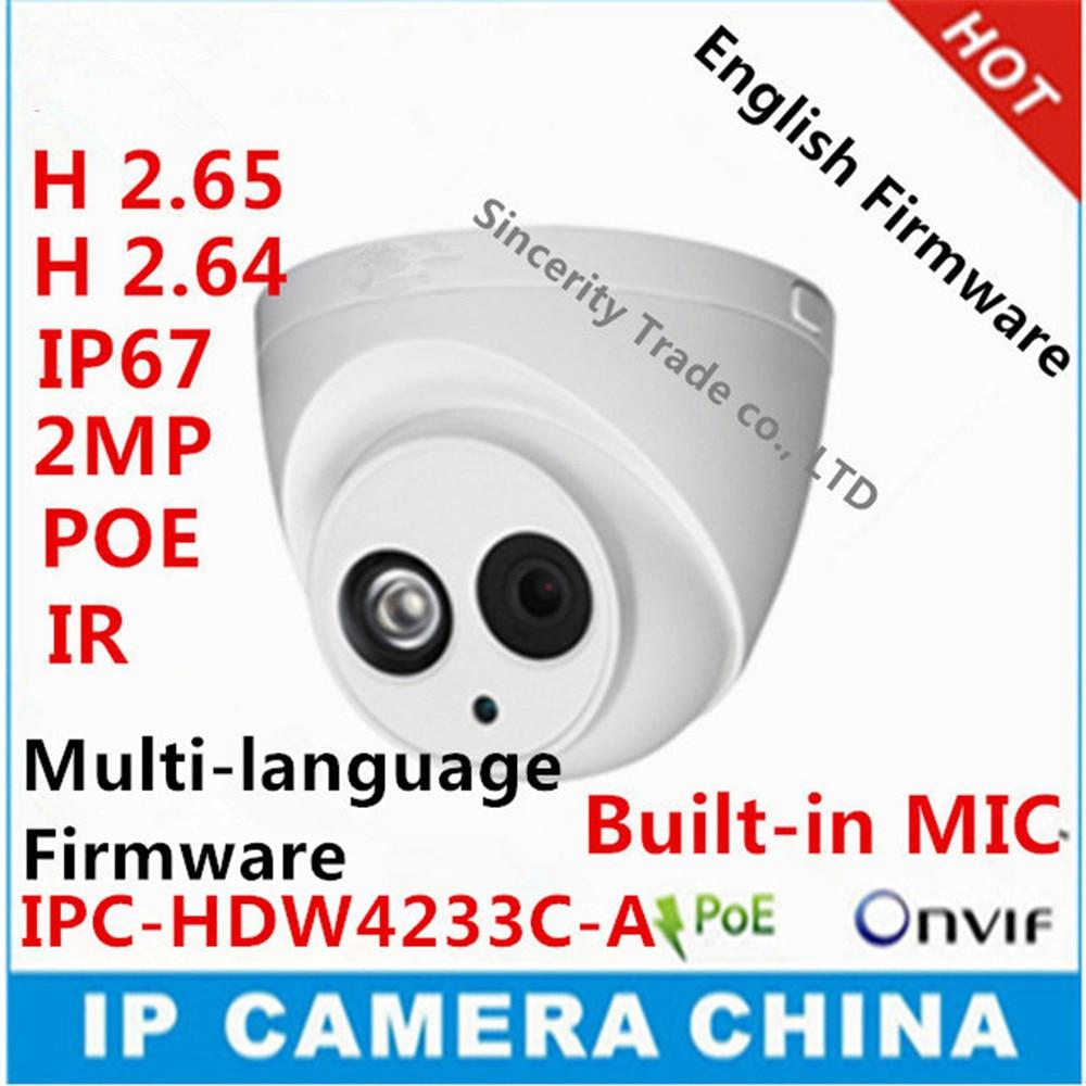 DH IPC HDW4233C A Starlight Camera Built in MIC 2MP IR 50m IP67 network IP Camera