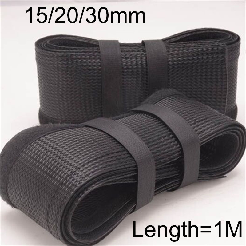 wrap electrical wiring harness 1m 15 20 30mm black flex hook   loop braided cable wrap sleeving  hook   loop braided cable wrap sleeving