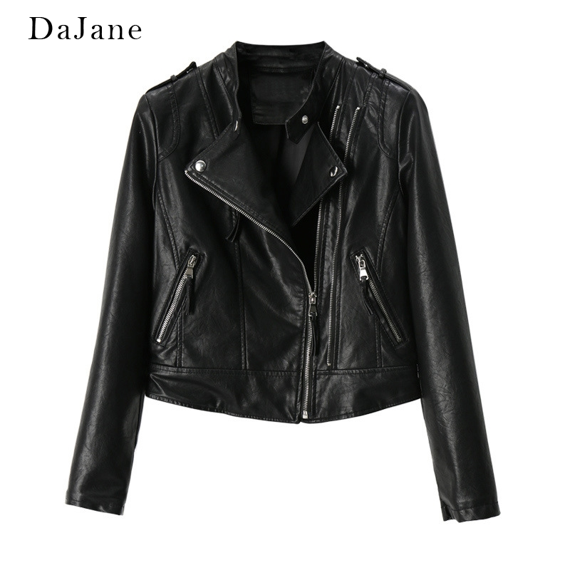 New Stand Collar Short Pu   Leather   DaJane Korean Fashion Casual Ladies Motorcycle Clothing   Leather   Jacket