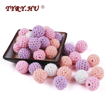 TYRY.HU 16mm 30pcs Wooden Crochet Beads Chewable Beads DIY Teething Toys Crib Jewelry Decoration Chi