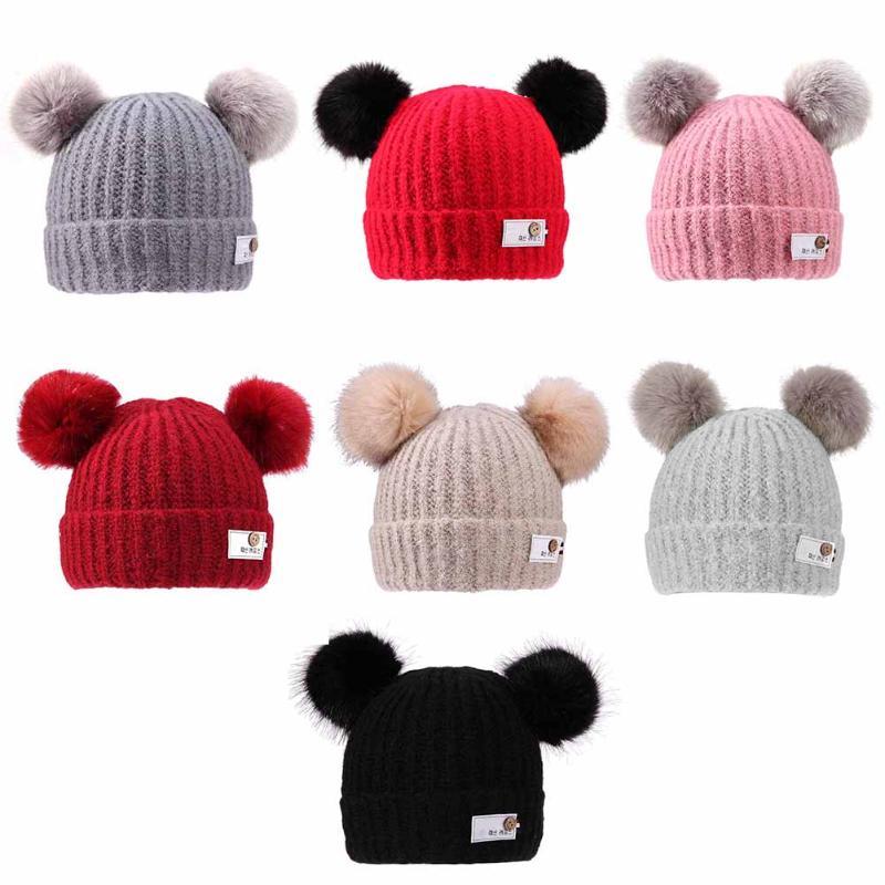 Winter Warm Fleece Baby Kids Hats Children Casual Knit Double Ball Thickening Fleece Cap Windproof Baby knitting Cap Beanie