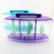 LED Light Mini aquarium Acrylic three Splits Betta Fish Tank Triple Bow Fighting Isolation Hatch Breed Box