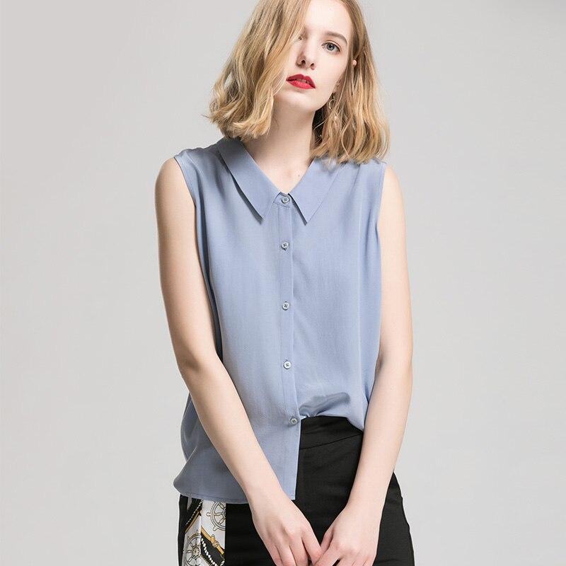 Camicia Delle Blu Reale Shirt Della 2019 Di Seta Dell'ufficio Solid Estate T Blue Nuovo Top Light Signora Ardesia Maniche Donne 100Senza Button DHIW29E