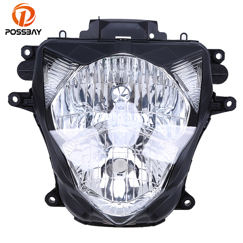 POSSBAY Clear Motorcycle Headlight Lens Head Light Case For Suzuki GSXR 600/750 2011-2015 No Bulbs Lighting Bicycle Cafe Racer
