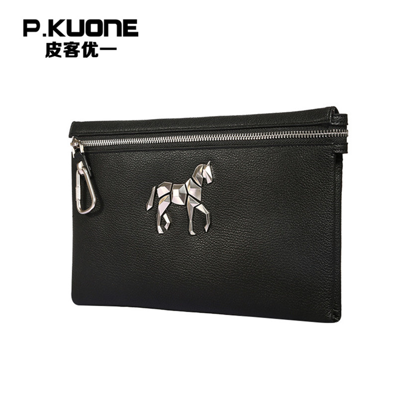 P.KUONE New Design Rivet Unicorn Men Clutch Bag Male Fashion Handbag Leather Wallet For Business Man Luxury Brand Zipper Bag