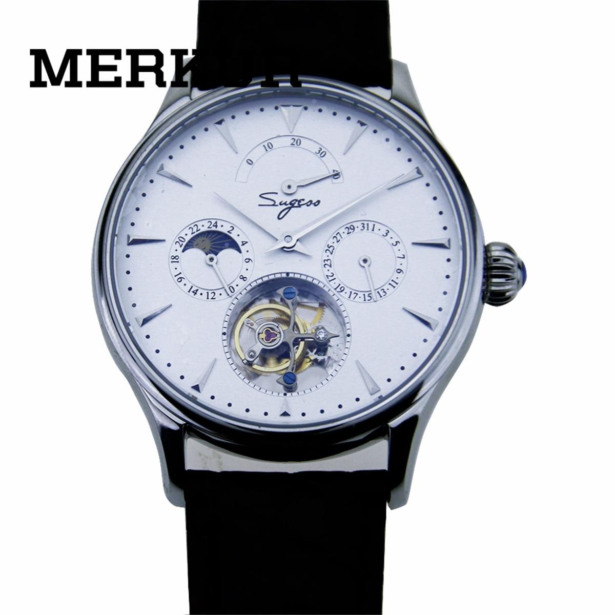 ①  SEAGULL Механизм Sugess Tourbillon Мужские наручные часы Календарь с ручным заводом Запас хода Механ ①