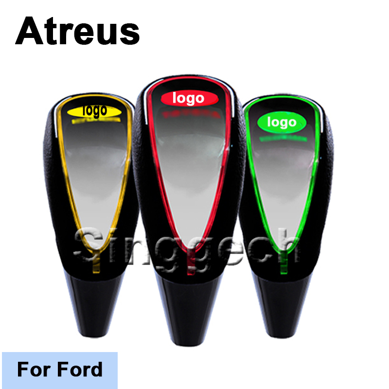 Atreus New Car-Styling Shift Gear Knob For Ford Focus 2 3 1 Fiesta Mondeo Kuba Ecosport Touch Sensor LED Light Colors 5/6 Speed stainless steel stereo knob panel decorative stickers 1pcs for ford fiesta ecosport accessories