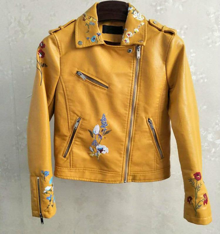 Women Fashion Yellow Flower Embroidered Vintage Jacket Girl Long Sleeve Outfits Faux   Leather   PU Short Motorcycle Coat Streetwear