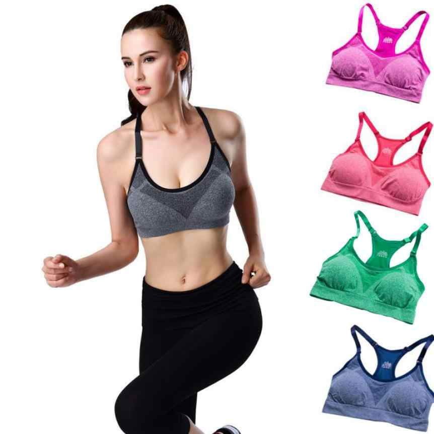 a2fdca8fd6e5 Detail Feedback Questions about Women Bra girl Fitness Padded Seamless Vest Tops  Tank Stretch Workout female Solid Nylon Bra Stretch Push up Sexy Fitness ...
