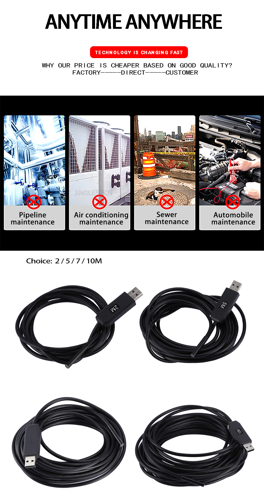 4710bf585d9 ᐂJINGLESZCN USB Endoscope Mini Camera 5.5mm Dia 7m Length ...