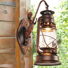 Artpad Chinese Style Vintage Indoor Outdoor Wall LED Light Waterproof Glass Kerosene Lamp Bar Corridor E27 Lantern Wall Lamps antique rustic iron waterproof outdoor wall lamp vintage kerosene lantern light rusty matte black corridor hallway wall light