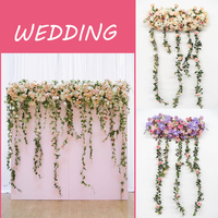 1.8M 2Type Artificial Flower Row With Wisteria DIY Wedding Decor Arch T road Lead Background Flower Wall Studio Window Props Row