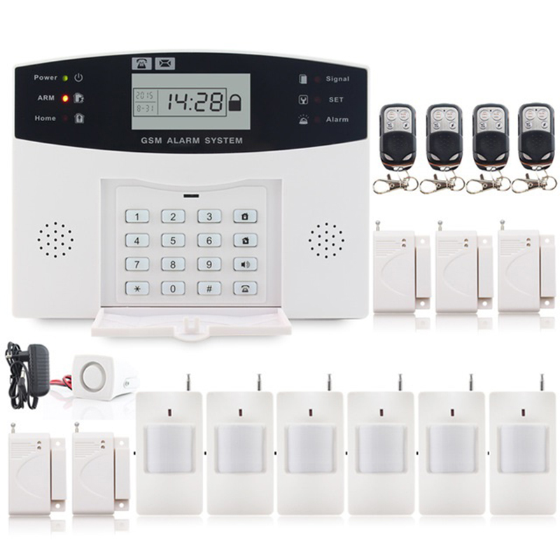 Saful Wireless GSM &Home Security Alarm System LCD Display SMS and Smoke Sensor with Russian/English/Spanish/French voice russian french spanish prompt voice smart home security gsm alarm system wireless remote control by sms calling with lcd display