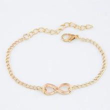 Простые Модные браслеты на цепочке, бесконечный браслет в форме восьмерки, серебряные золотые очаровательные браслеты, браслеты для женщин, браслеты
