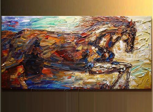 100 hand painted horse modern font b knife b font oil paintings on canvas 24X48