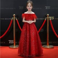 Children Girls Luxury Tassel Shoulderless Design Birthday Wedding Party Long Dress 2018 New Elegant Red Formal Pageant Dresses