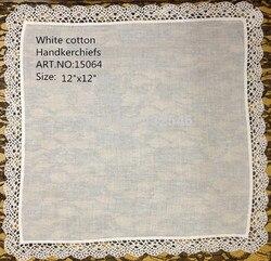 48 Stks/partij Mode Vrouwen Zakdoeken 12x12 Zachte 100% katoen Wedding Zakdoek Embroudered Kant Randen Zakdoeken Hanky Voor bruid