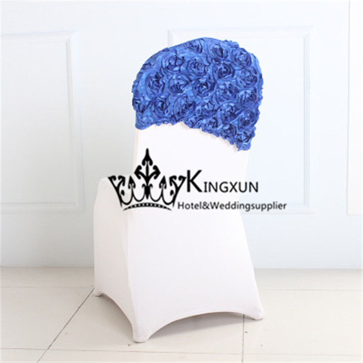 Spandex Satin Rosette Chair Cap  Chair Hood For Wedding Chair Cover