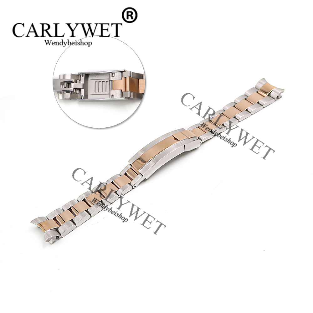 CARLYWET 20mm Middle Rose Gold Stainless Steel Solid Curved End Screw Links New Style Glide Lock Clasp Steel Watch Band Bracelet 20 21mm solid curved end stainless steel screw links wrist watch band bracelet strap glide flip lock deployment clasp buckle