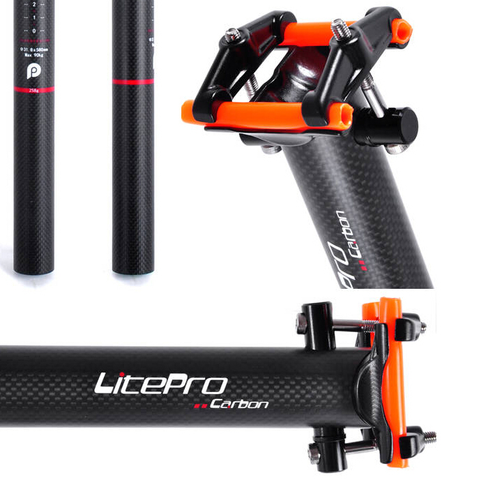 Litepro pliant vélo carbone tige de selle BMX carbone tige de selle vélo carbone tige de selle 31.8mm 33.9mm 34.9mm