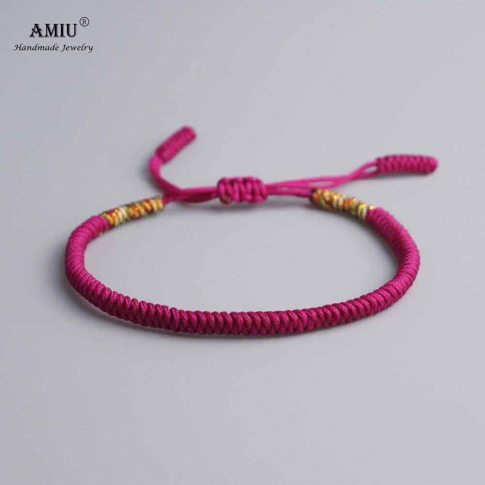 AMIU Tibetan Buddhist Lucky Charm Tibetan Bracelets & Bangles For Women Men Handmade Knots Roseo Rope Christmas Gift Bracelet