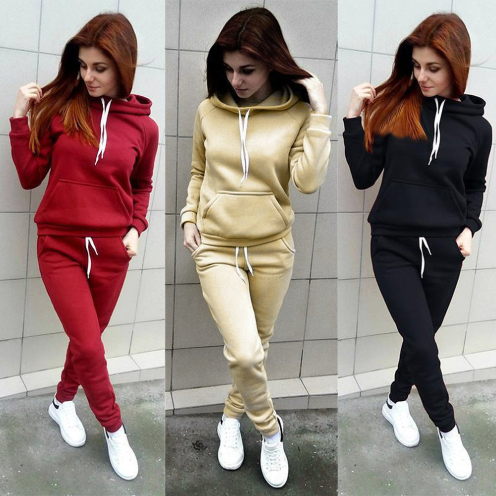 2018 Spring Casual Fashion Women Tracksuits Loose Type Long Sleeves Hooded Fitness Pullovers & Pants Suit 3 Colors Women Suits