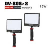 FalconEyes 2 pièces/lot 15W Portable Super mince LED lumière de remplissage pour appareil photo ou camcodeur 80 pièces LED s avec support de poche Kit de DV-80SL