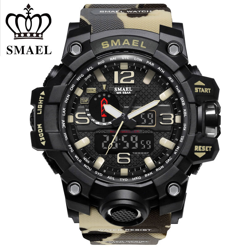 SMAEL Official Store Men's Digital Sport Watches Male Clock Dual Display Camouflage Militar Style Watches 5Bars Waterproof Dive Hot Clock Kaki 1545B