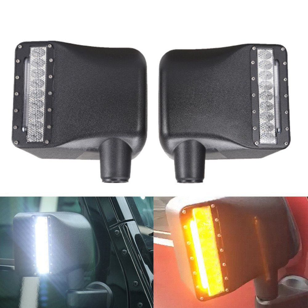 Side View Mirror Kit Rear View Mirror Housing With Turn Signal Light For Jeep JK JKU 2007-2016 (White color and amber color) 4pcs black led front fender flares turn signal light car led side marker lamp for jeep wrangler jk 2007 2015 amber accessories