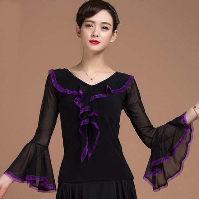 aa20d5b383e Ballroom Sexy modern Riffle long sleeve Latin dancing clothing top for women  female