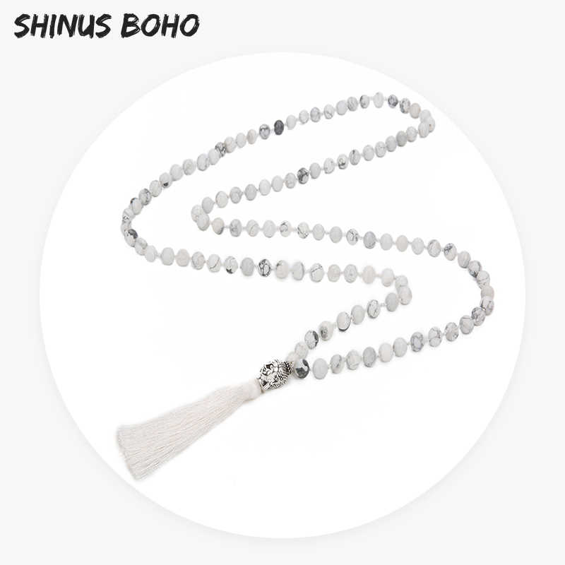 SHINUSBOHO Religion 108 Mala Beads Jewelry for Women Long Tassel Round White Natural Stone Necklace Men Female Healing Present