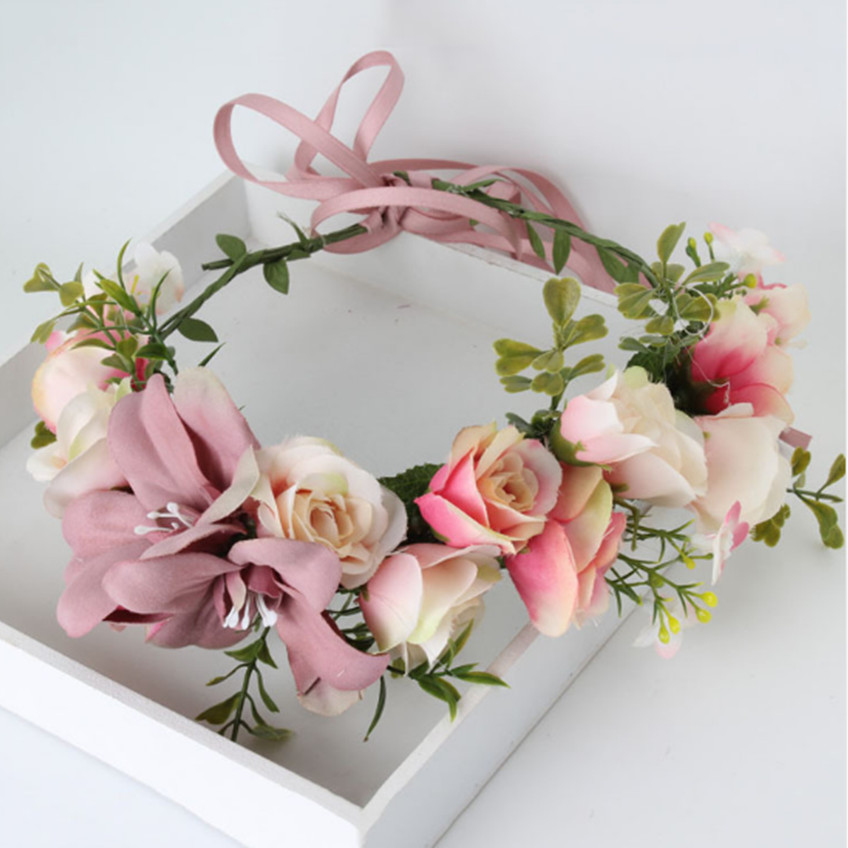 Handmade rose Flower crown Garland Halo for Wedding Travel Festivals Girl flower wreath Headpiece Decorations coroa