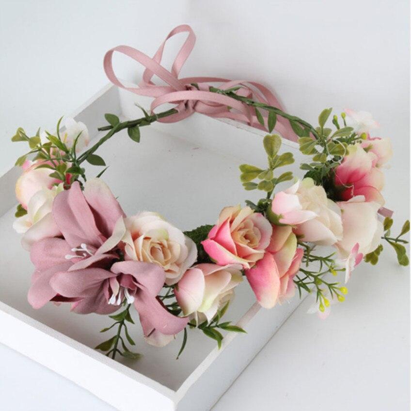Handmade rose Flower crown Garland Halo for Wedding Travel Festivals Girl flower wreath Headpiece Decorations coroa de flores