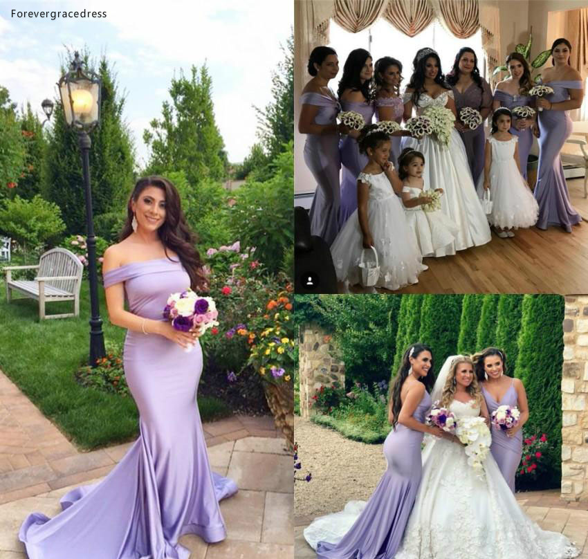 Mermaid   Bridesmaid     Dress   Cheap Lavender Western Summer Country Garden Formal Wedding Party Guest Maid of Honor Gown Plus Size