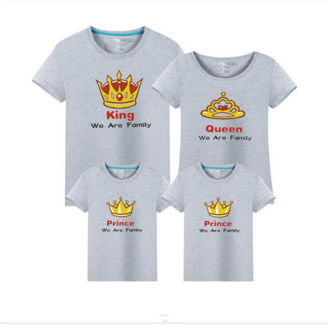 1d903c5e Family Matching Tshirt Outfits King Queen Prince Print Dad Mom Kids Tops Tees  Family Look Summer 100%cotton Clothing 11 Colors